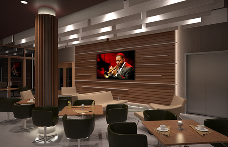 Rendering of jazz club video wall