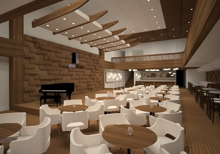 Rendering of Jazz Center's performance space