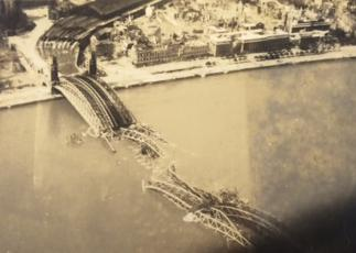 A bridge over the Rhine River in Cologne, Germany, another target from Gerhard's first mission in Europe during World War II.