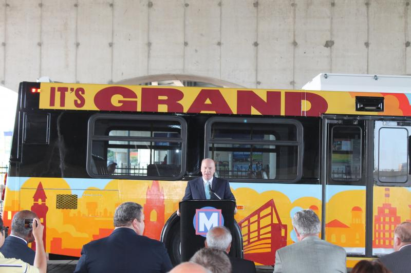 Metro President and CEO John Nations speaks during a press conference introducing the buses.