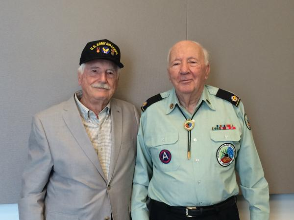 Harris Gerhard, left, of Webster Groves and Clem Igel of Ballwin. Gerhard, 92, was a flight engineer with the U.S. Army Air Force in ETO during WWII. Igel, 90, was a sergeant in the army who participated in D-Day.