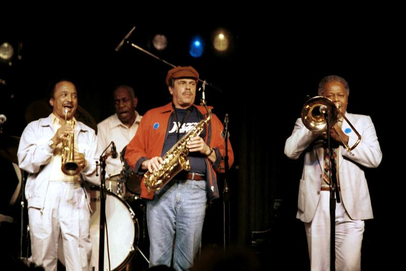 Snooky Young (tp) Mickey Roker (d-heard tonight) Phil Woods (as) Slide Hampton (tb)-1986