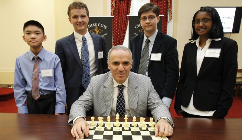 Left to Right. Jeffrey Xiong, Kayden Troff, Sam Sevian and Ashritha Eswaran, with Garry Kasparov.