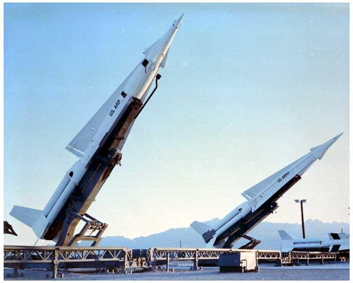 This vintage photo shows what the missiles looked like; these sites were top secret, so this location was not identified.