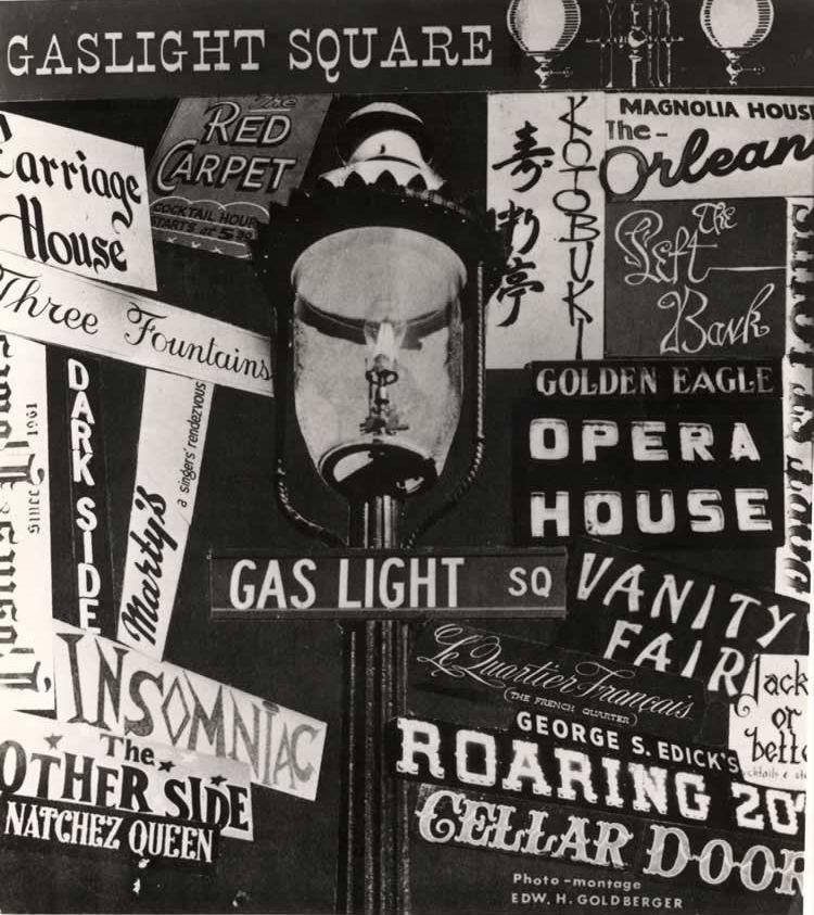 This publicity poster showcases the wide variety of attractions on offer in Gaslight Square, from jazz clubs to fine French dining. There was even a Japanese restaurant ― a novelty in the Midwest of the 1960s.