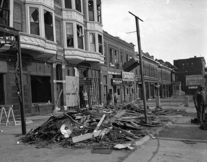 In 1959 a tornado swept through St. Louis, destroying much of the neighborhood around Olive and Boyle. The post-tornado reconstruction boom drove the area's transformation from Antique Row into an arts and entertainment district.