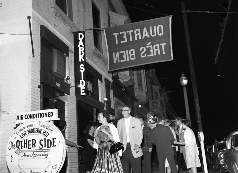 On the western edge of the Gaslight district, the modern jazz clubs the Dark Side and the Other Side provided a more edgy alternative to the predominantly Dixieland-oriented bars in the center of the entertainment strip on Olive.
