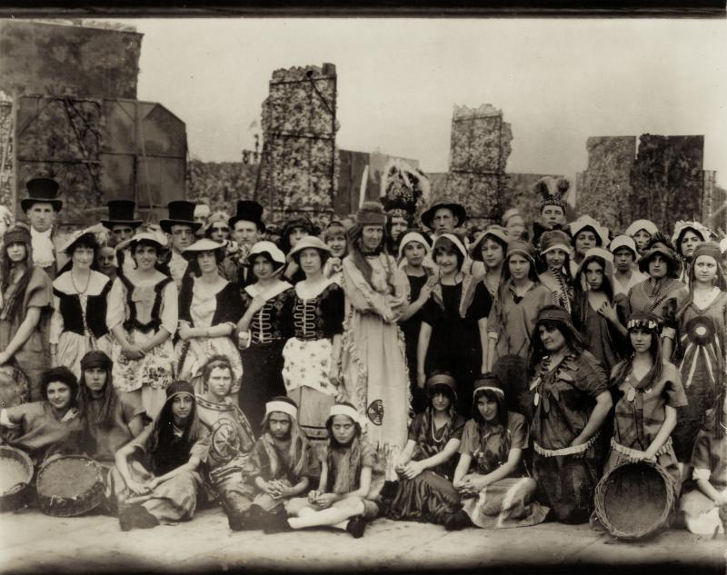 Some of the 7,500-person cast for the Pageant and Masque