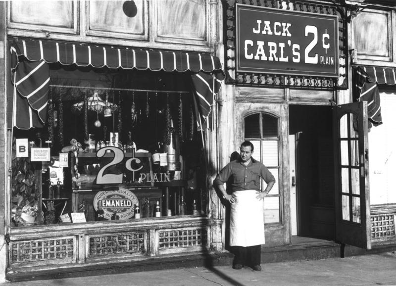 The New York-style delicatessen Jack Carl's 2¢ Plain was one of the most popular of the district's daytime hang outs. Its owner, Jack Carl (pictured), was one of Gaslight's central figures.