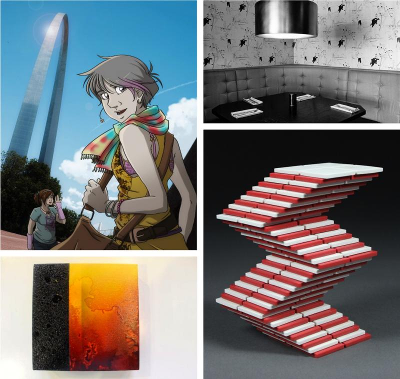 Work from four of the artists in the first CSA group, clockwise from left, Ray Nadine, Caroline Philippone, Matthew Paul Isaacson, Brandon Daniels
