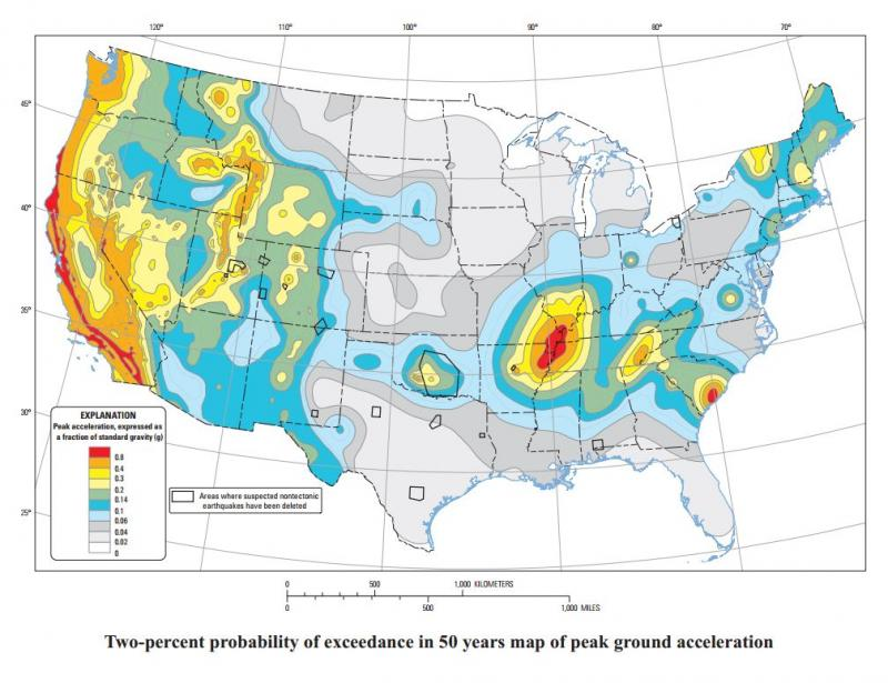 National Seismic Hazard map of the continental United States, released in July of 2014. This view measures peak ground acceleration.