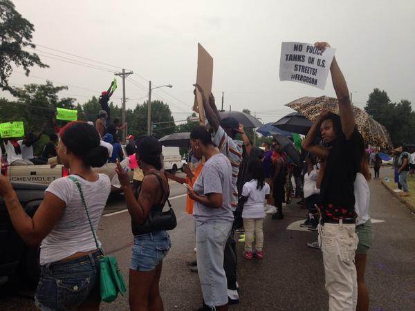 From a march in Ferguson on Aug. 15