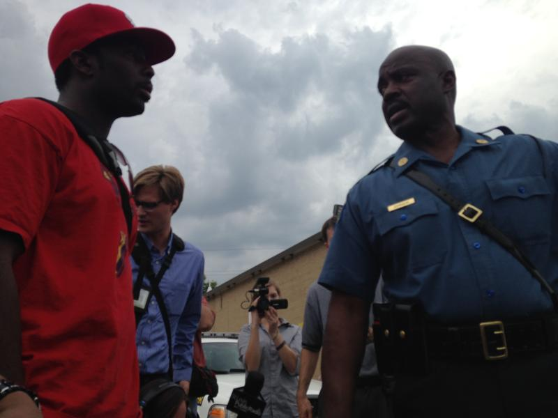 Friday afternoon, Ron Johnson of Missouri State Highway Patrol asks protester to keep the peace in Ferguson over the course of the night.