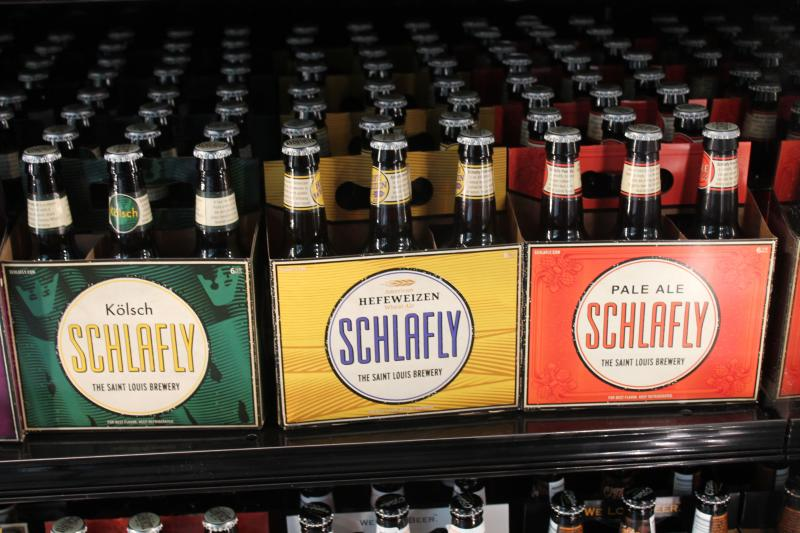 The beer selections include St. Louis brews, such as Schlafly.