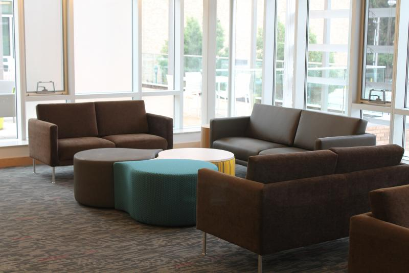 A common area at the new dorm.