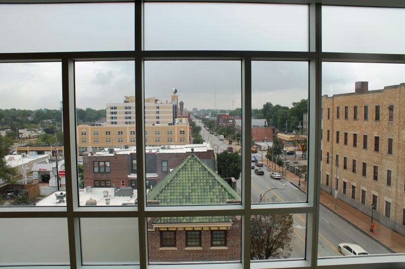 The view from one of the dorm's three-bedroom apartments.