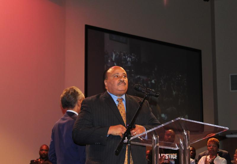 "Martin Luther King III told Michael Brown's parents ""the whole world is praying for you."""