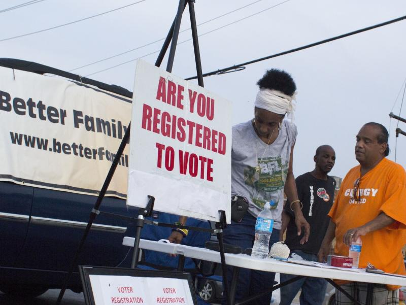 Deborah D. Ahmed was in Ferguson to try to register people to vote.