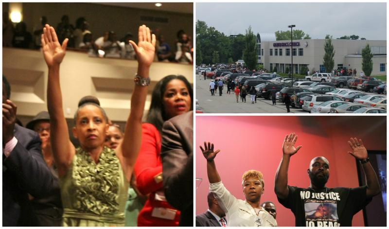 """Hands up, don't shoot"" has become a symbol of the Brown movement"