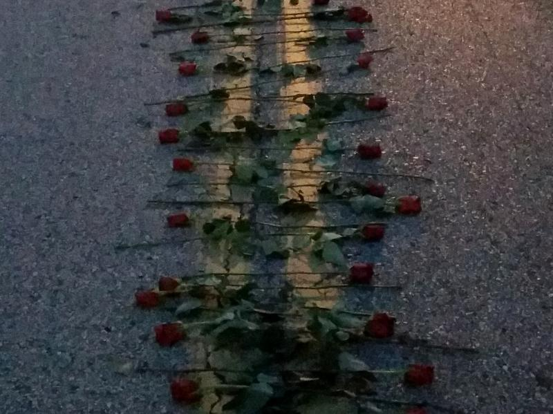 Roses have been added to the memorial for Michael Brown on Canfield Drive.
