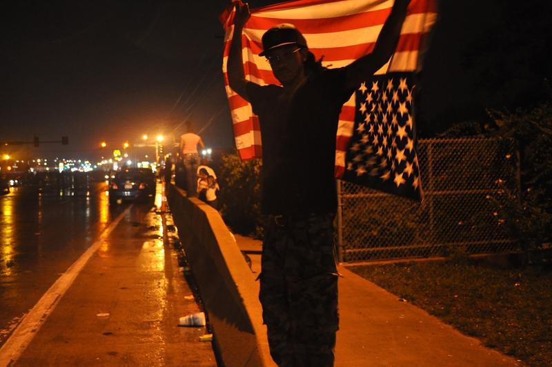 A protester on Aug. 16 in Ferguson