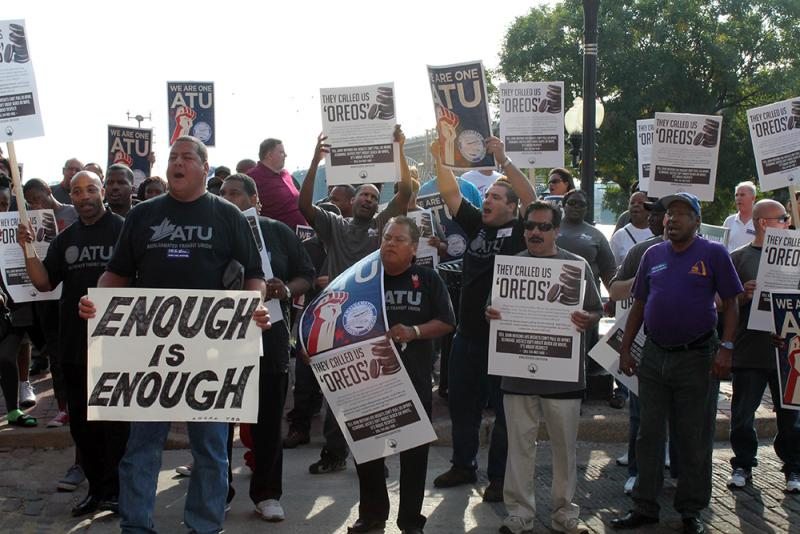 Members of the ATU Latino Caucus joined local 788 and members of other local unions in a protest outside Metro headquarters on Friday, September 26, 2014.