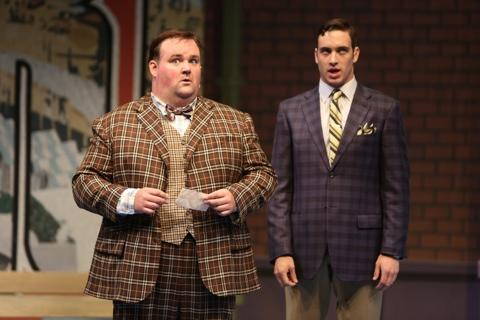 "Raymond McAnally stars as as Francis Henshall with Jack Fellows as Stanley Stubbers in the Repertory Theatre of St. Louis' ""One Man, Two Guvnors."""