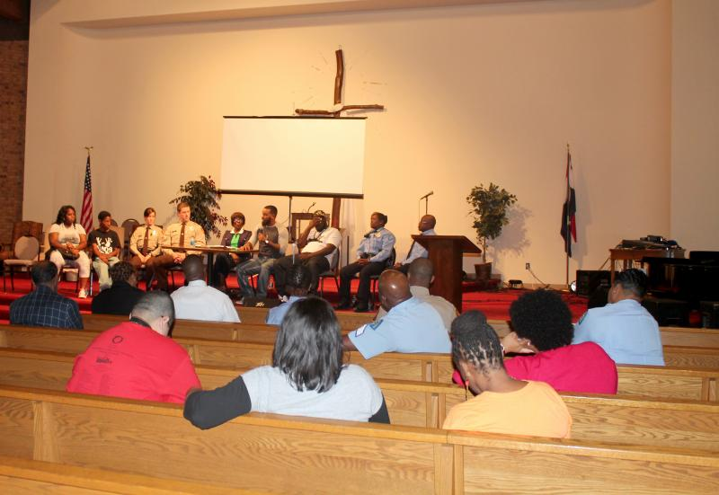 More seats were empty than filled at Greater St. Marks Family Church during a discussion about bridging the gap between police and the community Saturday, September 27, 2014.