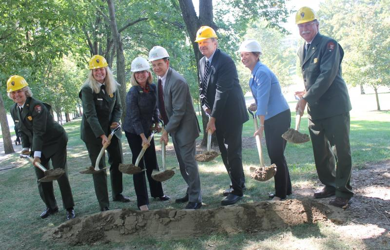 Representatives of the National Park Service, Great Rivers Greenway, the City of St. Louis and the CityArchRiver 2015 Foundation break ground on the next phase of the CityArchRiver 2015 renovations.