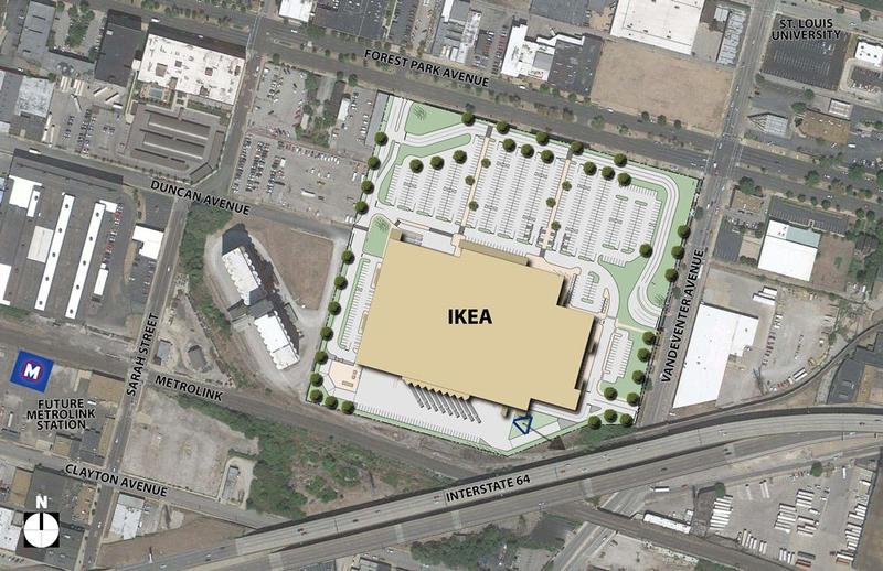 Map of the future IKEA site. The grain elevator is to the left.