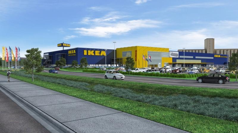 A rendering of the new IKEA story. Notice the grain elevator in the top right?