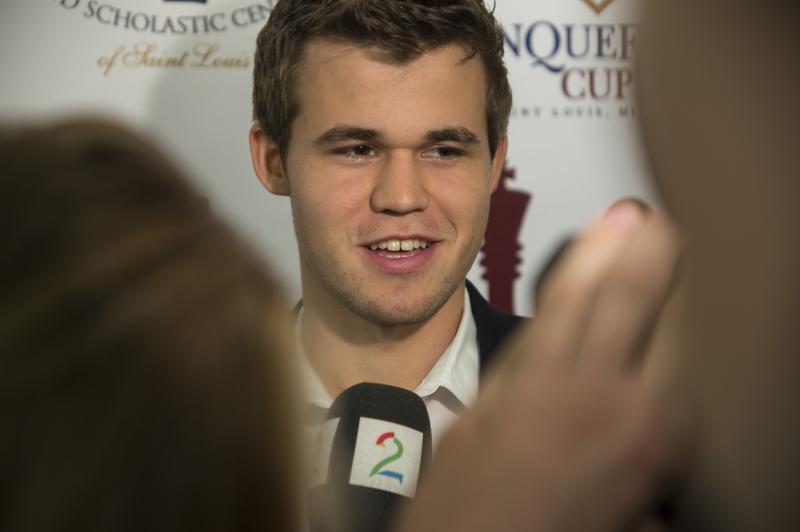Magnus Carlsen in St. Louis earlier this month