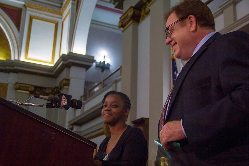 Janae Wilson and Aaron Williams at the Sept. 19 Board of Aldermen Friday