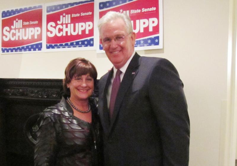 Jill Schupp at a recent campaign event with Gov. Jay Nixon