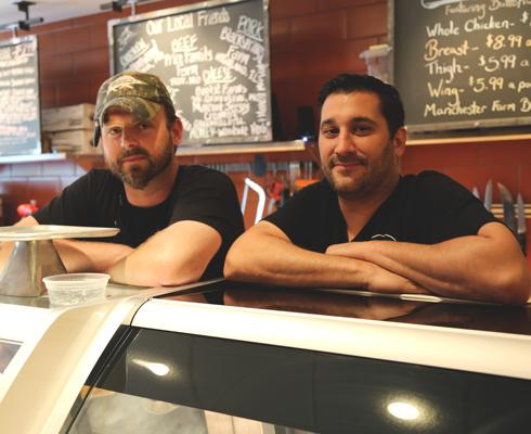 Andrew Jennrich, left, is the head butcher at The Butchery, Truffles Restaurant's new meat market. Brandon Benanck, right, is Truffles' executive chef.