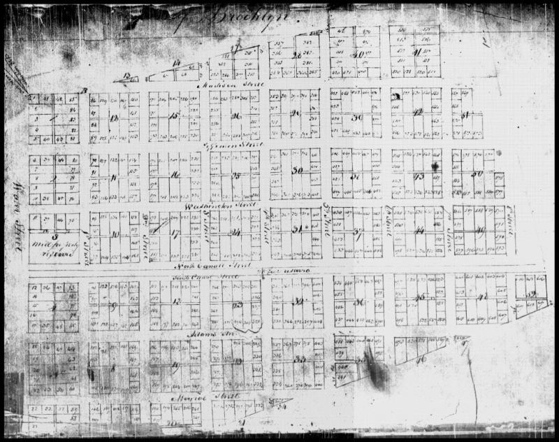 This 1837 Brooklyn plat map shows lot 521 on Madison Street near the corner of 6th Street (top right). Priscilla Baltimore purchased the lot and built a house there in 1851.