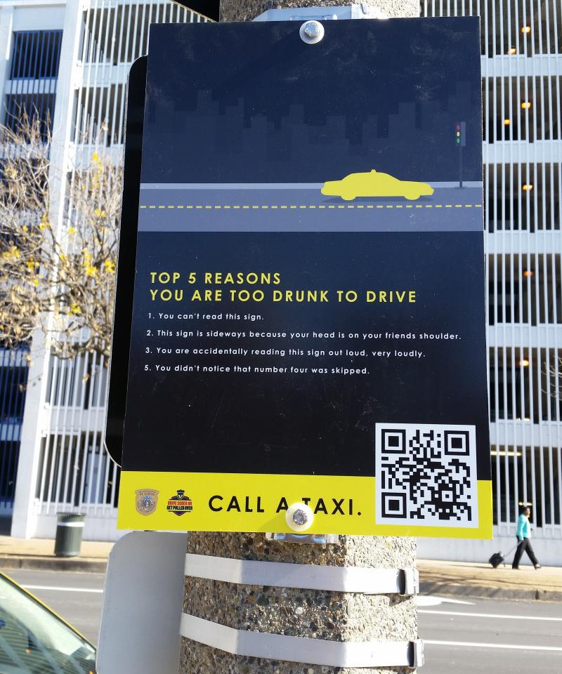 One of the new signs that can be found on taxi stands throughout Downtown St. Louis.
