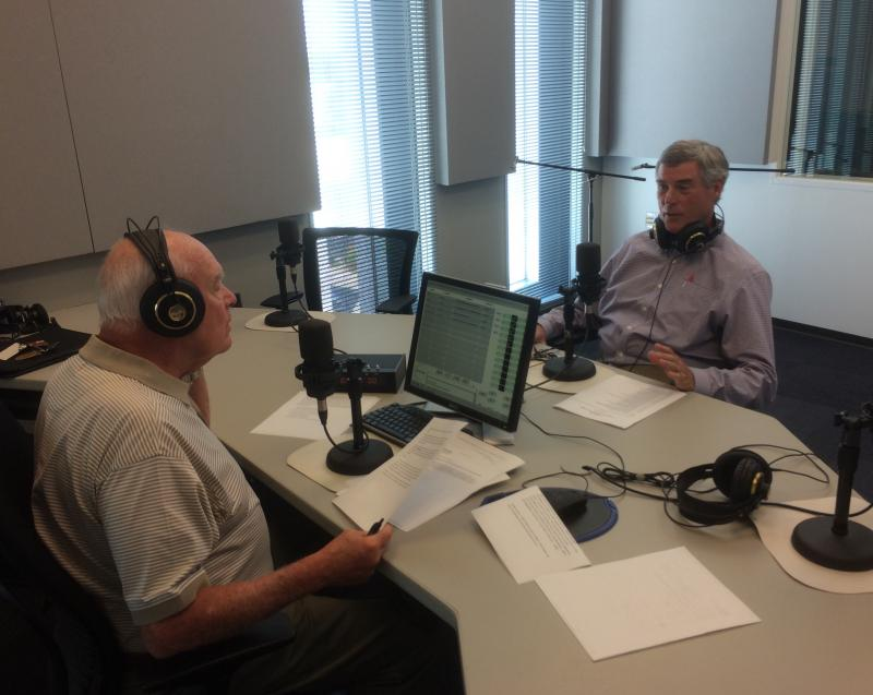 "St. Louis County Prosecuting Attorney Bob McCulloch, right, talks to ""St. Louis on the Air"" host Don Marsh on Wednesday."