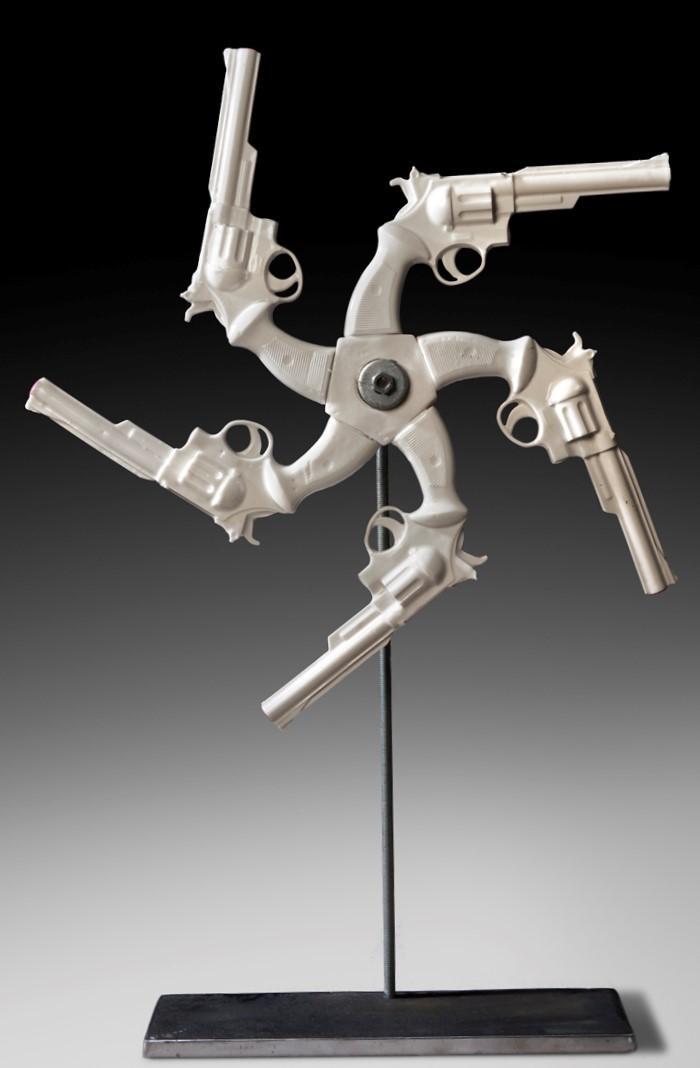 Linda Lighton's art in hands up exhibit
