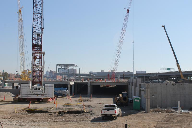 The new Ikea store is under construction on top of a parking structure. It will also include outdoor parking.