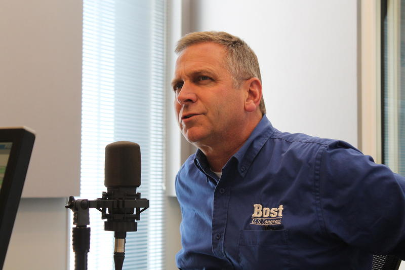 U.S. Rep. Mike Bost, R-Murphysboro, prepares for his guest appearance on St. Louis on the Air in 2014.