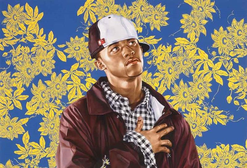 Kehinde Wiley, detail, 'After Titian's Penitent Mary Magdalene,' oil wash on paper, 90 x 60 inches, Courtesy of Susan and David Sherman