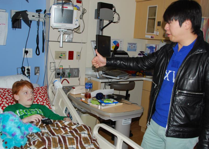 Concert pianist Lang Lang stopped to talk to patients after performing at Mercy Children's Hospital St. Louis on Oct. 17, 2014. Lang was in St. Louis for a Saturday performance with the St. Louis Symphony.