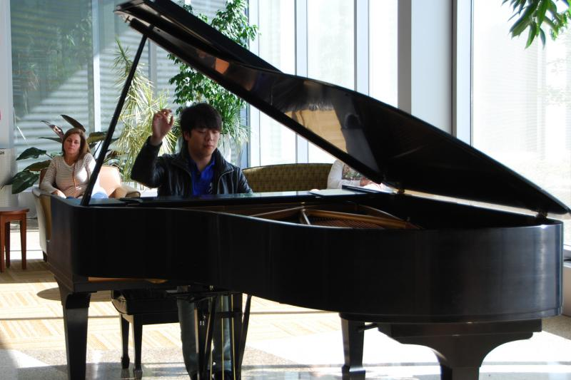 Concert pianist Lang Lang performs in the lobby of Mercy Children's Hospital St. Louis on Oct. 17, 2014. Lang was in St. Louis for a Saturday performance with the St. Louis Symphony.