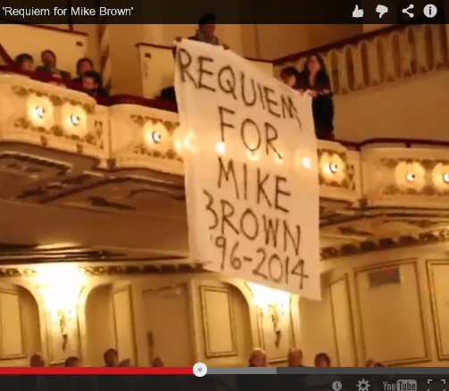 The musical protest at the St. Louis Symphony on Oct. 4 included banners