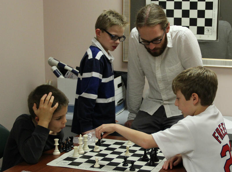 First-grader Jay Mainard, far left, uses the weekly chess club at the Miriam School in Webster Groves as a tool to combat learning disabilities.