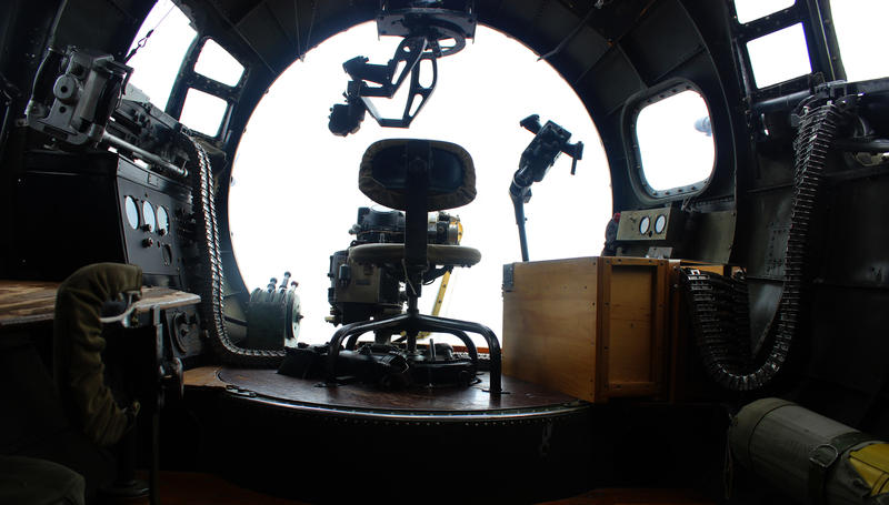 A view of the bombardier's station, located in a glass bubble in the nose of the plane along with a machine gunner's post.
