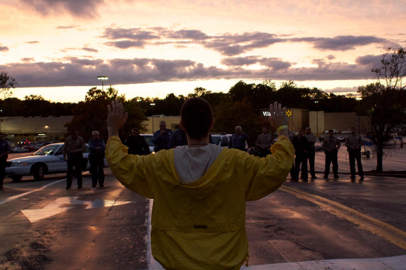 Protester outside Ferguson Walmart during Ferguson October