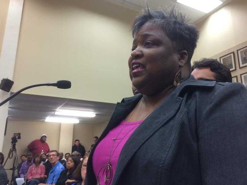 Adrienne Hawkins of One Ferguson speaking during a recent Ferguson City Council meeting.