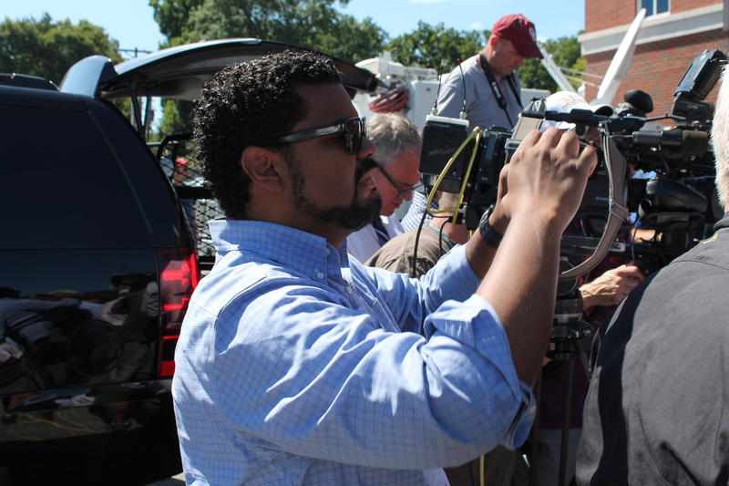 St. Louis Alderman Antonio French documents a Ferguson press conference in August.